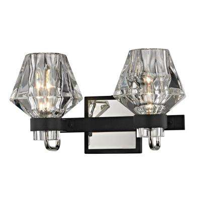 Faction 2-Light Forged Iron and Polished Nickel Bath Light with Clear Pressed Glass Shade