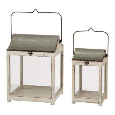 Distressed Wood Lantern With Galvanized Metal Lid, Set of 2
