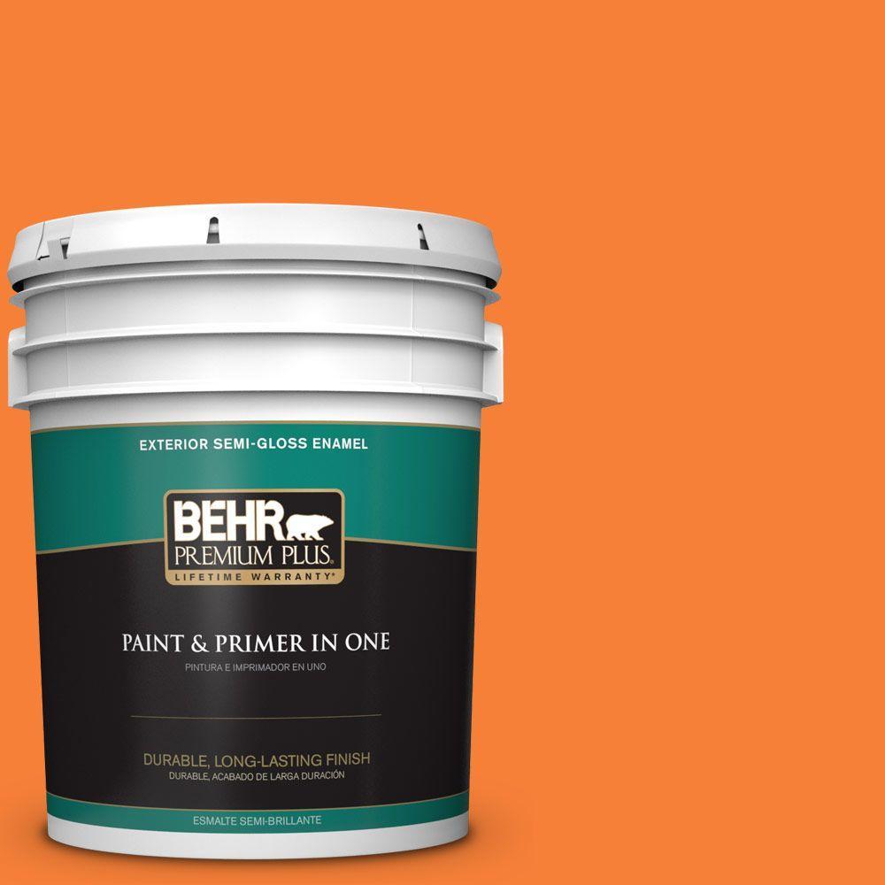 5-gal. #230B-6 Orange Burst Semi-Gloss Enamel Exterior Paint