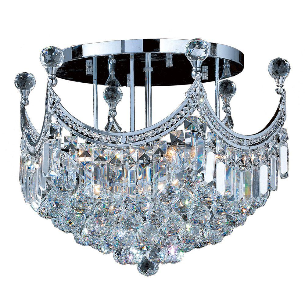 Worldwide Lighting Empire Collection 9-Light Chrome and Crystal Ceiling Light