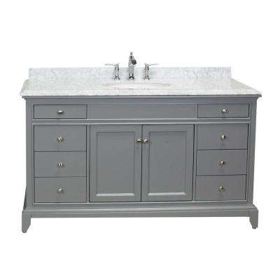 Elite Stamford 60 in. W x 23.5 in. D x 36 in. H Vanity in Gray with Carrera Marble Top in White with White Basin