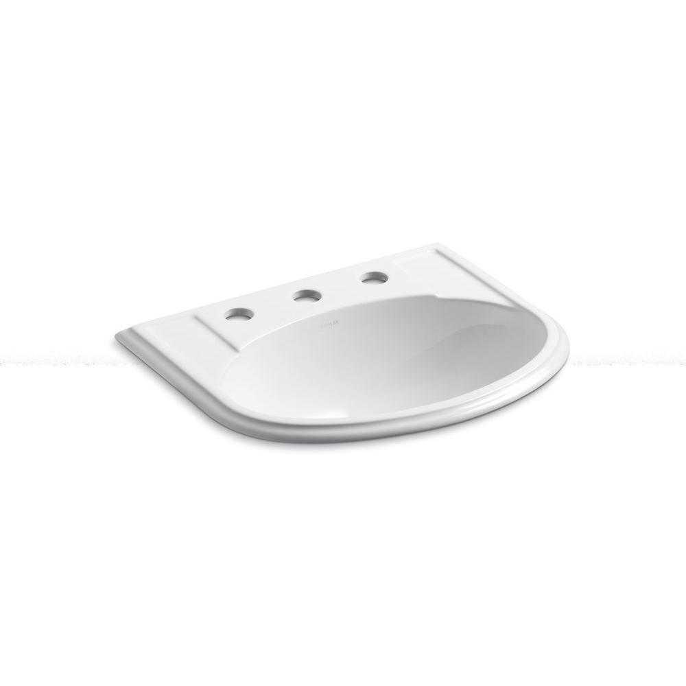KOHLER Devonshire Drop In Vitreous China Bathroom Sink in White with  Overflow Drain K 2279 8 0   The Home Depot. KOHLER Devonshire Drop In Vitreous China Bathroom Sink in White