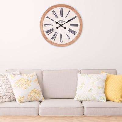 Rustic Wood Old Town Roman Numeral White Wall Clock