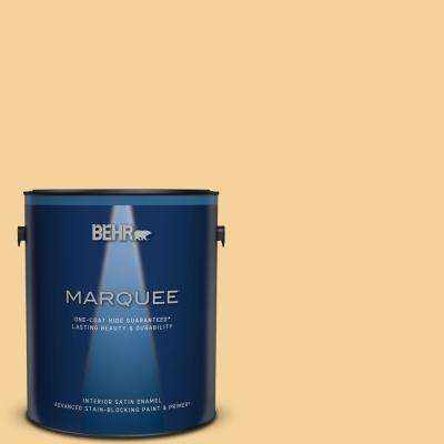 Behr Marquee 1 Gal 320c 3 Honey Butter Satin Enamel Interior Paint Primer 745401 The Home Depot