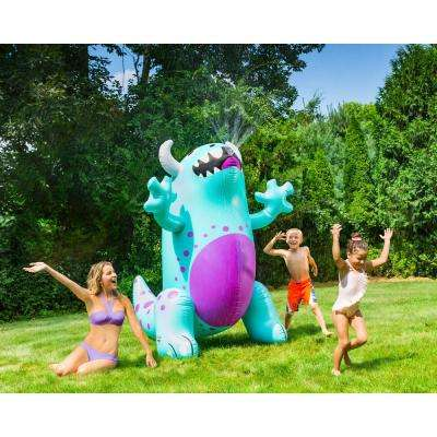 6.5 ft. Tall Blue and Purple Vinyl Inflatable Ginormous Cute Monster Yard Sprinkler