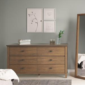 Artisan 4-Srawers Rustic Natural Aged Brown Solid Wood 60 in. Wide  Contemporary Bedroom Dresser and Media Cabinet