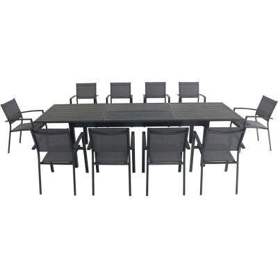 Dawson 11-Piece Aluminum Outdoor Dining Set with 10-Sling Chairs and an Expandable 40 in. x 118 in. Table