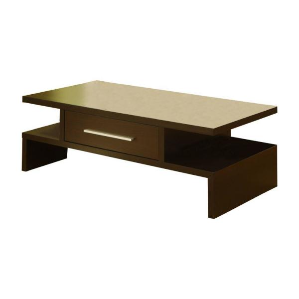 Brown Unique Style Coffee Table with Bar Handle Drawer