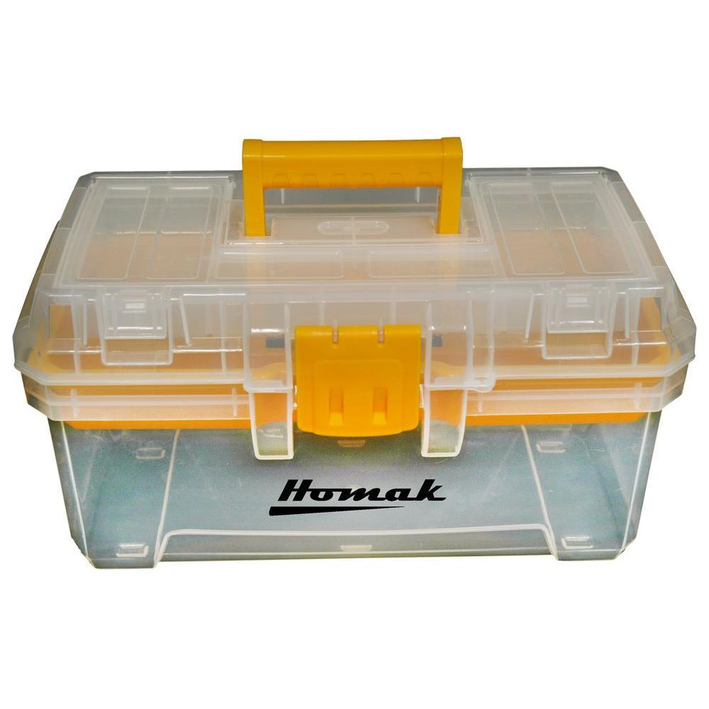 Homak 15 in. Plastic Transparent Tool Box