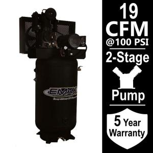 Click here to buy EMAX Industrial Series 80 Gal. 5 HP 1-Phase Electric Air Compressor by EMAX.
