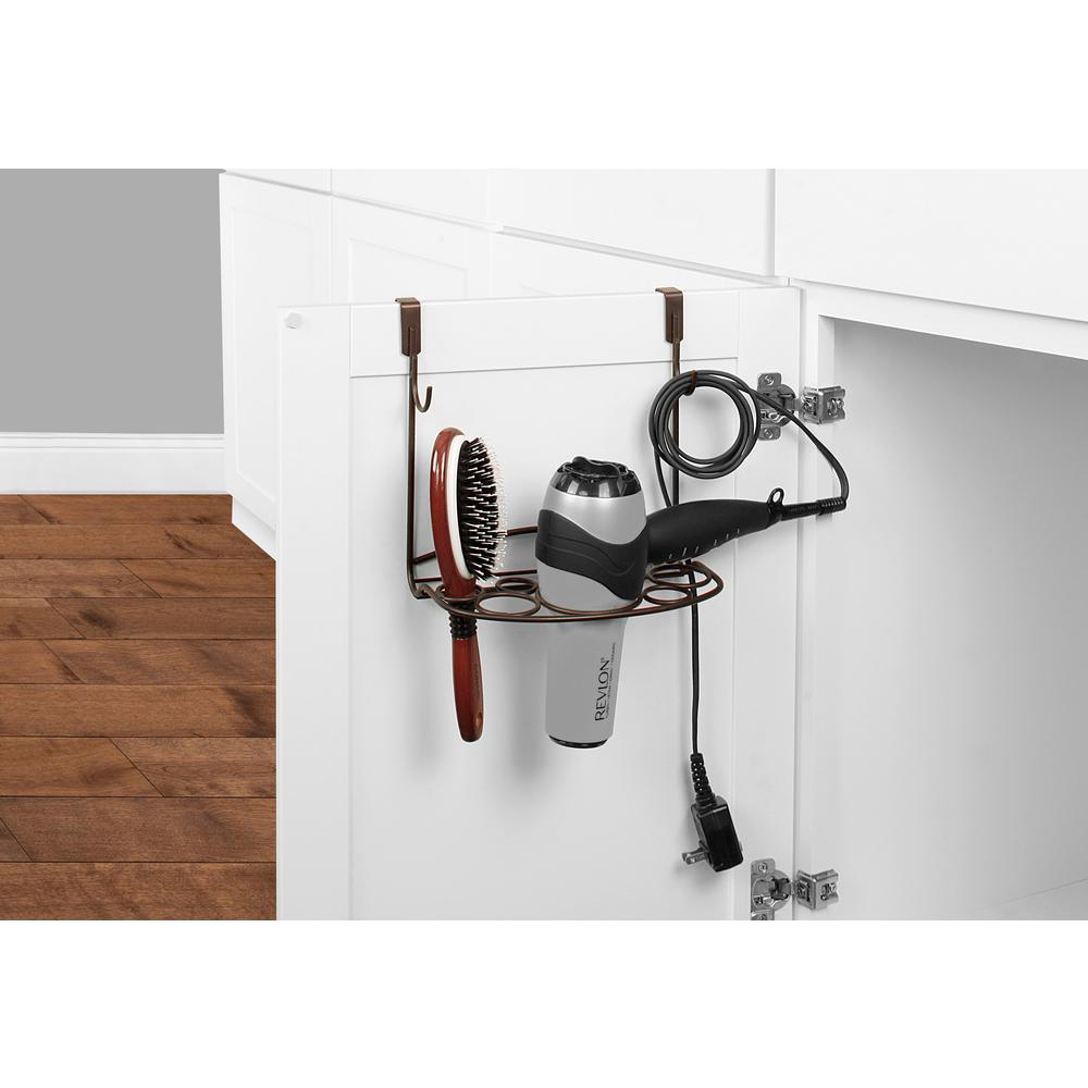 Spectrum MyBella 9.625 in. W Over the Cabinet Shapes Styling Rack in Bronze Great for bathroom clutter-control, Spectrum's MyBella Over the Cabinet Styling Rack keeps hair care tools neatly organized. The padded foam brackets easily slide over standard cabinet doors and require no tools or installation. Made of sturdy steel, this hair care organizer neatly stores flat irons, curling irons, hair brushes and most hair dryers with concentrators attached. Also features two hooks and storage space to hang cords or other hair accessories. Color: Bronze.