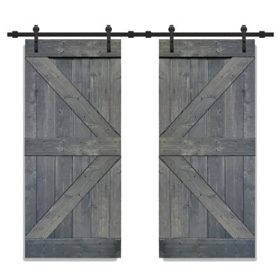 K Series 36 in. x 84 in. Gray Stained Solid Knotty Pine Wood Double Interior Sliding Barn Doors with Hardware Kit