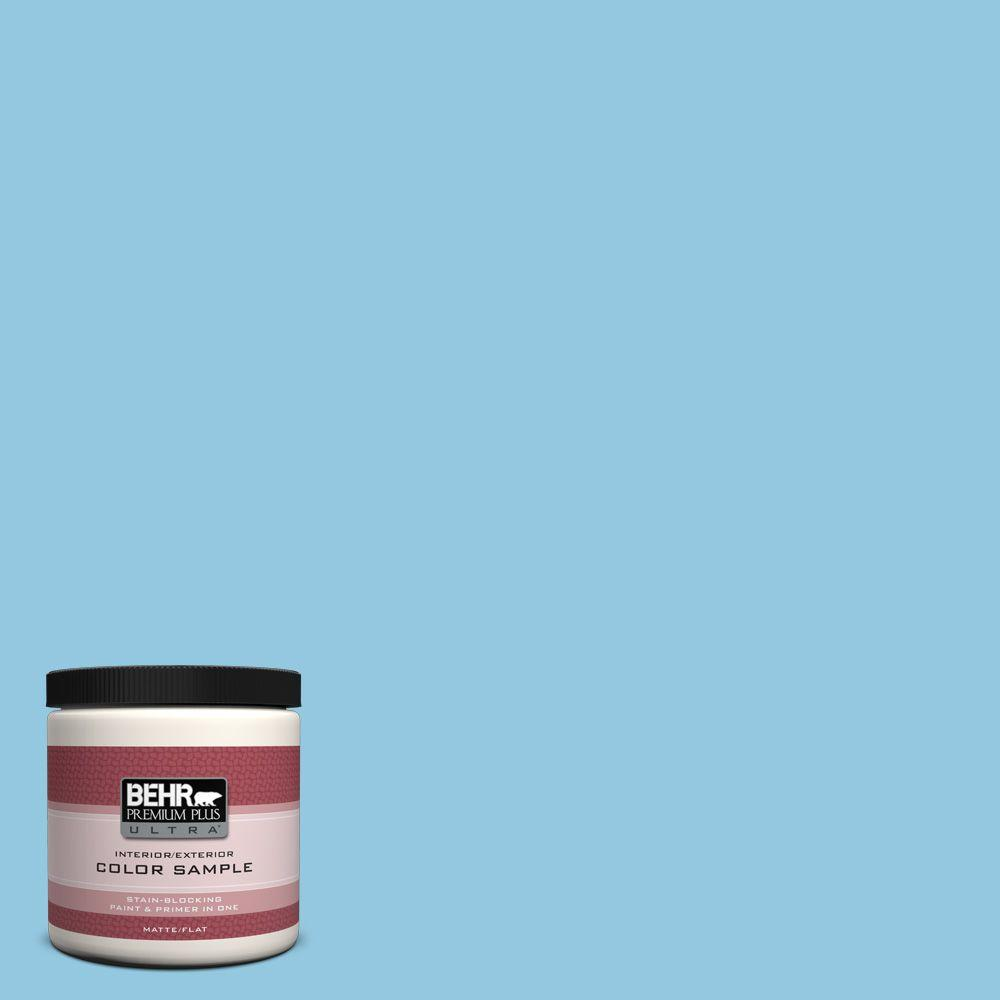 BEHR Premium Plus Ultra 8 oz. #550D-4 Caribbean Coast Matte Interior/Exterior Paint and Primer in One Sample