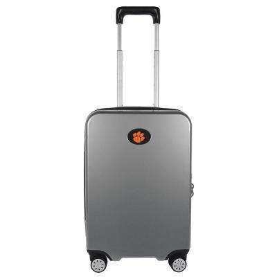 NCAA Clemson Premium 22 in. Silver 100% PC Hardside Carry-On Spinner Suitcase with Charging Port