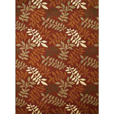 Chester Leafs Red 6 ft. 7 in. x 9 ft. 3 in. Area Rug