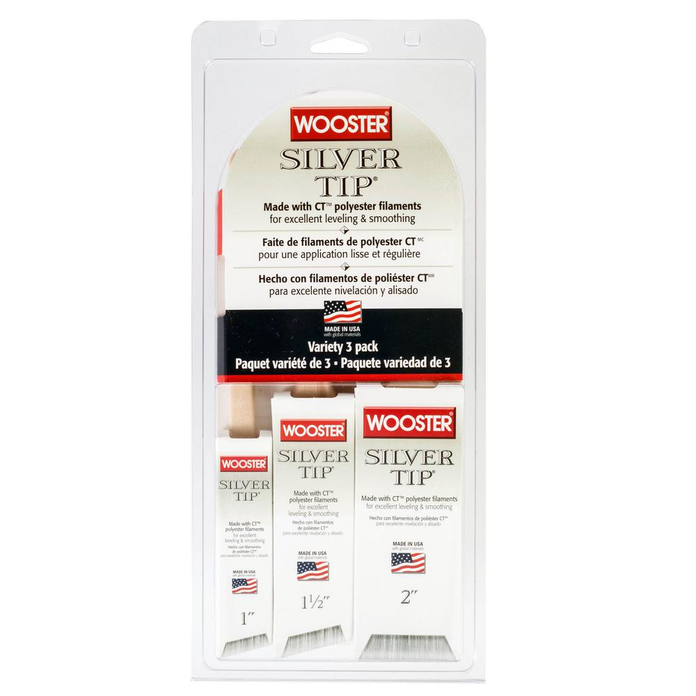 Wooster 1 in. Thin Angle Sash, 1-1/2 in. Angle Sash and 2 in. Flat Trim Silver Tip Brush Set (3-Pack)