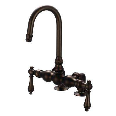 2-Handle Deck-Mount Vintage Gooseneck Claw Foot Tub Faucet with Lever Handles in Oil Rubbed Bronze