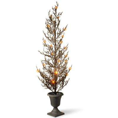 46 in. Black Glittered Halloween Tree with Lights
