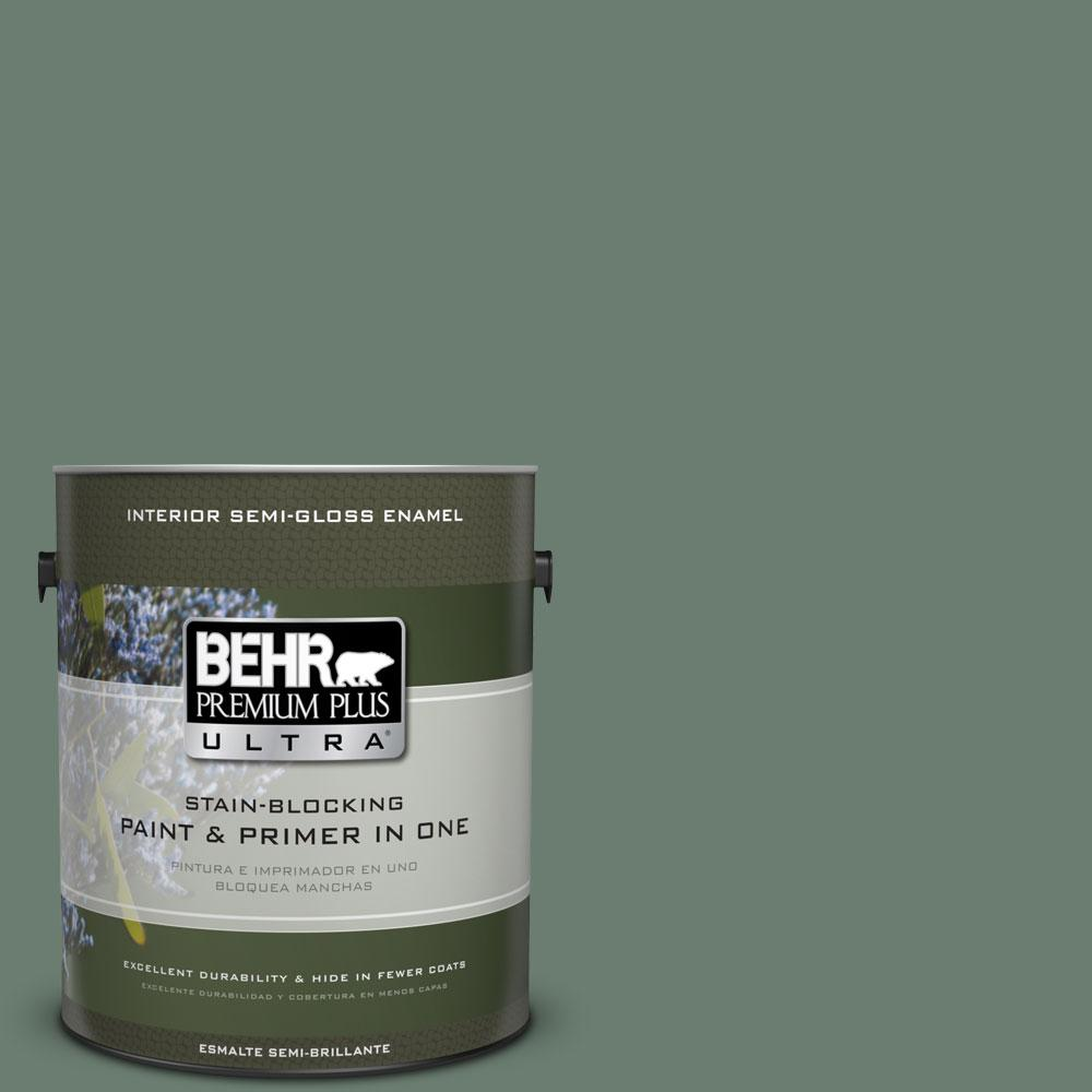 BEHR Premium Plus Ultra 1-gal. #460F-5 Island Palm Semi-Gloss Enamel Interior Paint