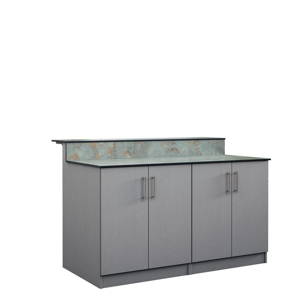 WeatherStrong Palm Beach 59.5 in. Outdoor Bar Cabinets with Countertop 4 Full Height Doors in Gray