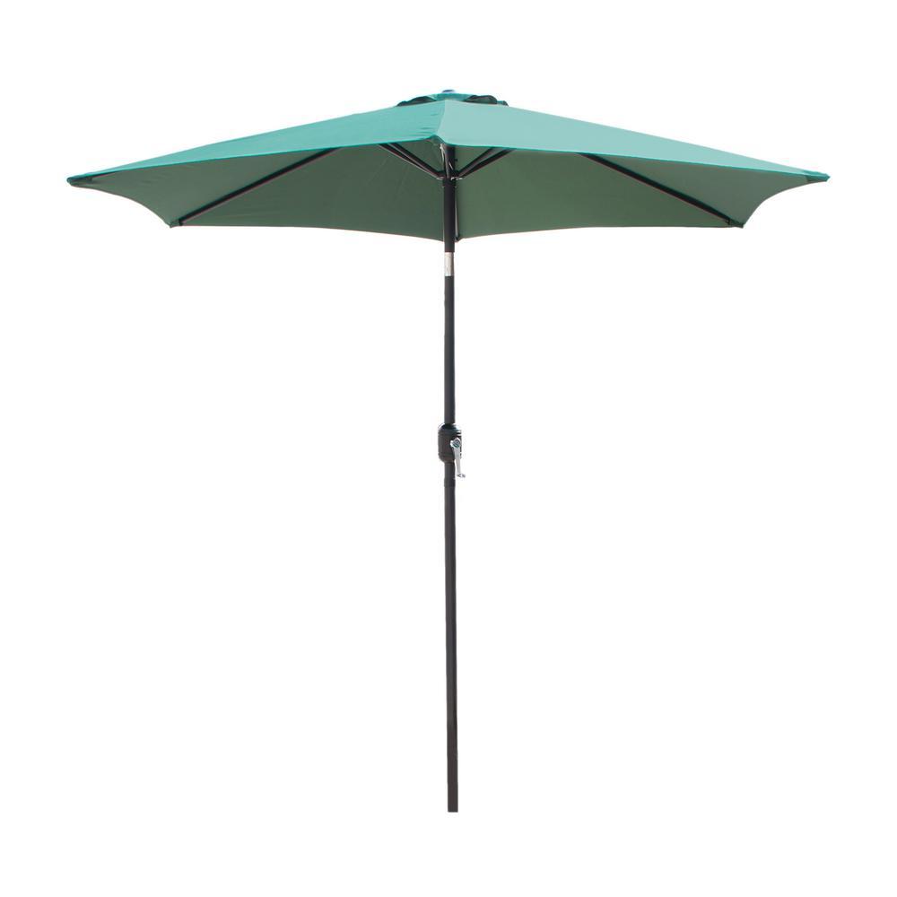 9 ft. Market Crank-Tilt Outdoor Garden Patio Beach Umbrella in Green