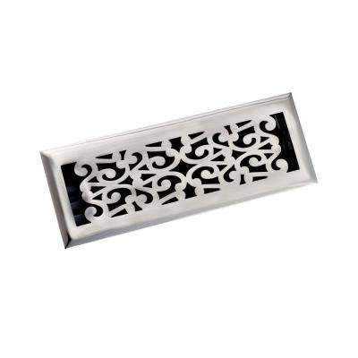 4 in. x 14 in. Scroll Floor Register, Antique Pewter