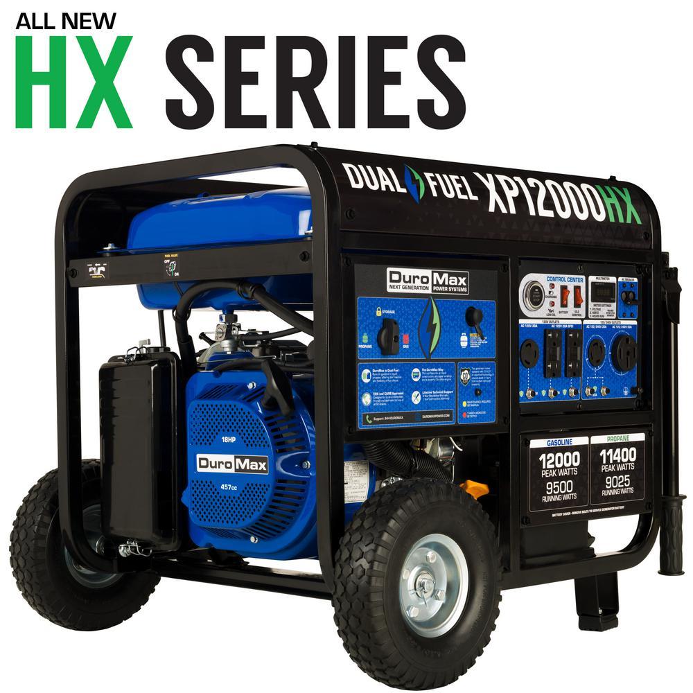 Duromax 12,000 Watt/9,500 Watt-Push Button Start-Gas/Propane Powered-Portable Generator- CO Alert Sensor-Transfer Switch Ready