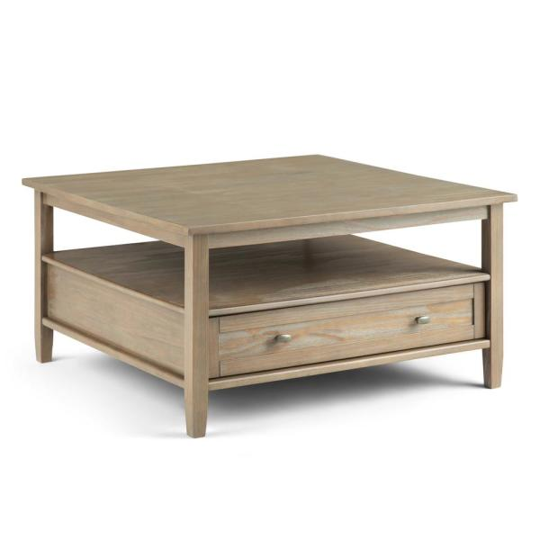 Grey Solid Wood Coffee Table: Simpli Home 36 In. Warm Shaker Distressed Grey Solid Wood