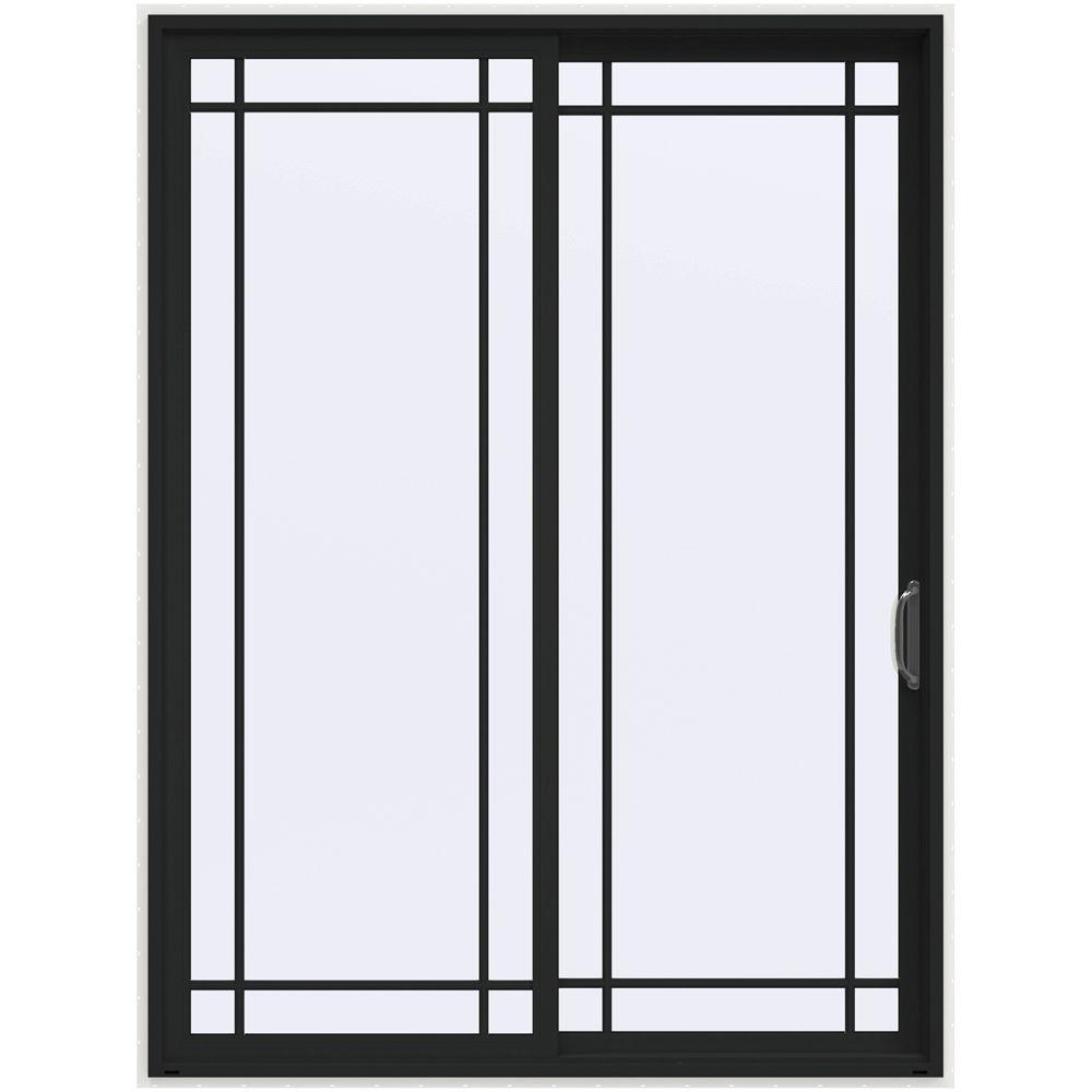 72 in. x 96 in. V-4500 Contemporary Bronze Painted Vinyl Right-Hand 9 Lite Sliding Patio Door w/White Interior