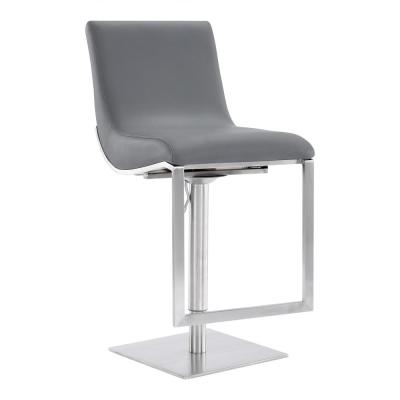 Flint Contemporary Adjustable 38-46.5 in. Swivel Barstool in Brushed Stainless Steel and Grey Faux Leather