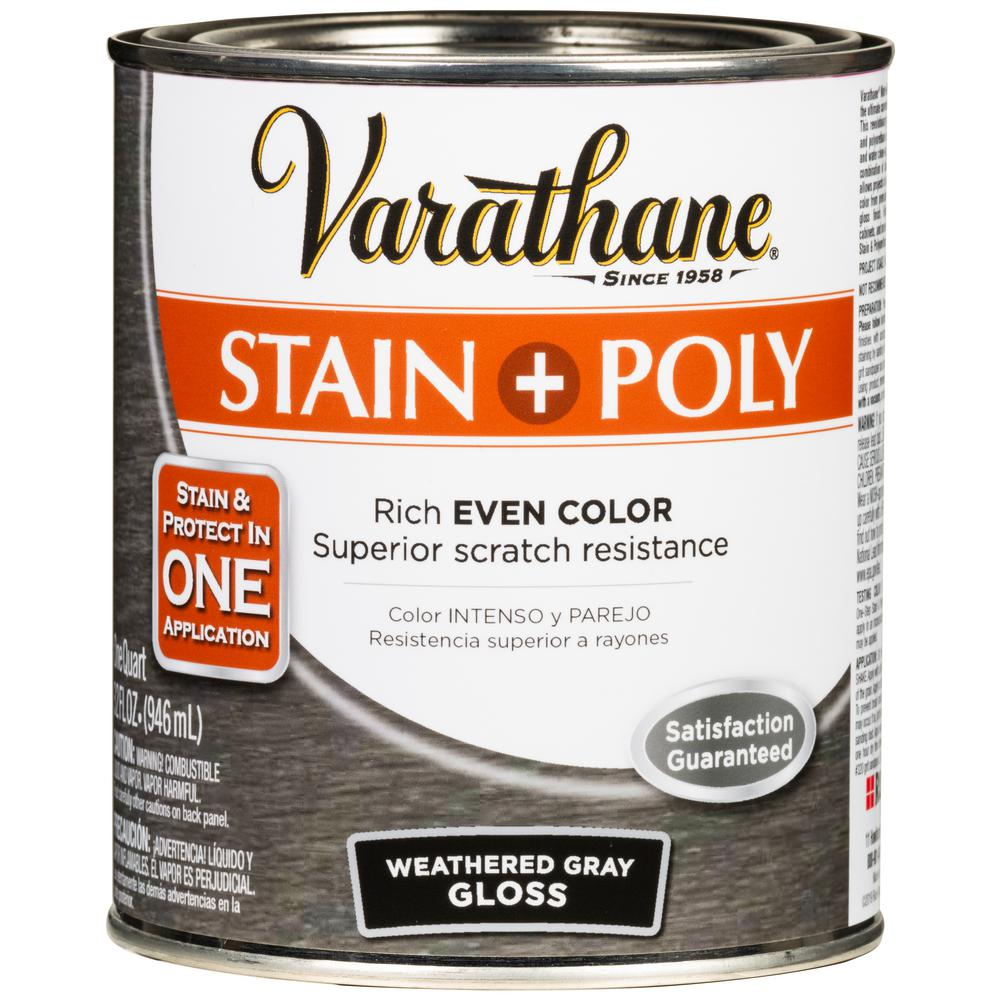 Varathane 1 qt. Weathered Gray Gloss Water-Based Interior Stain and Polyurethane