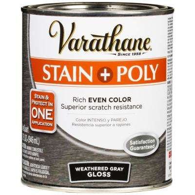 1 Qt. Weathered Gray Gloss Water-Based Interior Wood Stain and Polyurethane (2-Pack)