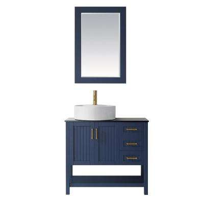 Modena 36 in. Vanity in Blue with Tempered Glass Top in Black with White Vessel Sink and Mirror