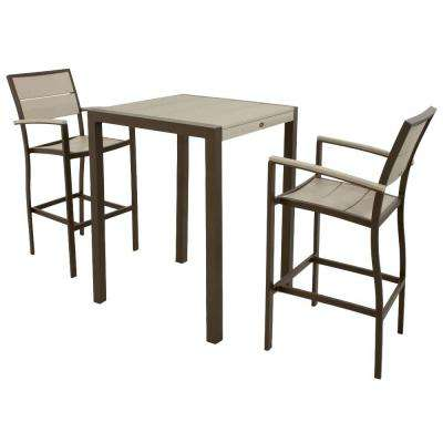Surf City Textured Bronze 3-Piece Patio Bar Set with Sand Castle Slats