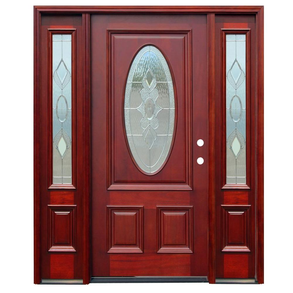 Pacific Entries 70in.x80in. Traditional 3/4 Arch Lite Stained Mahogany Wood Prehung Front Door w/6 in. Wall Series and 14 in. Sidelites