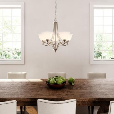 5-Light Antique Nickel Chandelier with Etched White Glass Shades