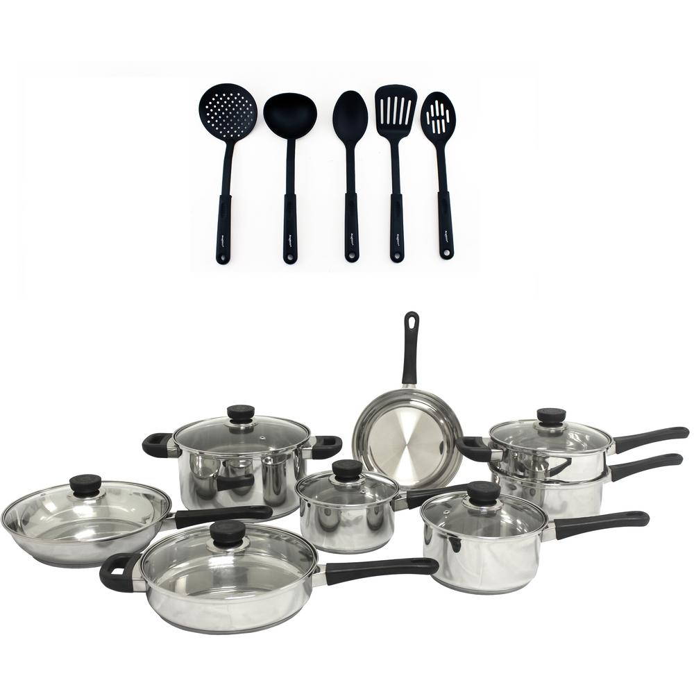 CooknCo 19-Piece Stainless Steel Cookware Set