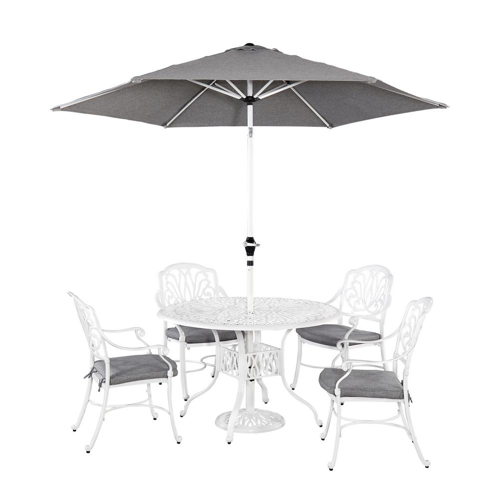 Floral Blossom 5-Piece Patio Dining Set with Umbrella