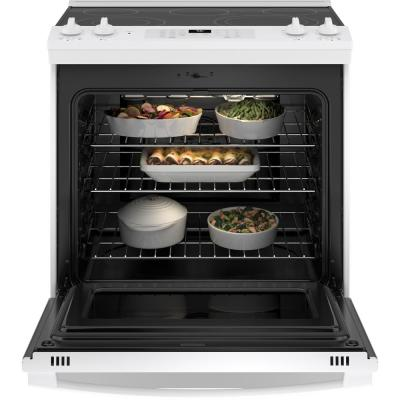 30 in. 5.3 cu. ft. Slide-In Electric Range with Self-Cleaning Convection Oven and Air Fry in White