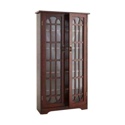 330-Disc Cherry Window Pane Media Cabinet