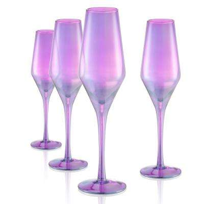 8 oz. Champagne Flute in Purple (Set of 4)