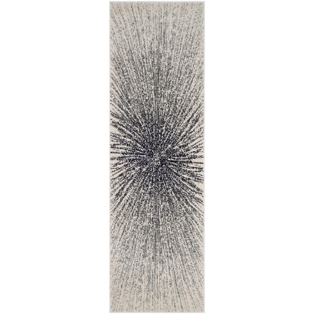 Evoke Black/Ivory 2 ft. x 9 ft. Runner Rug