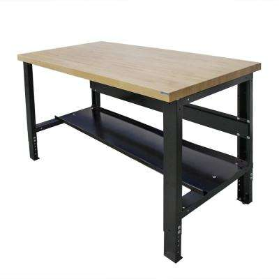 30 in. x 72 in. Heavy-Duty Adjustable Height Workbench with Solid Hardwood Top and Bottom Shelf