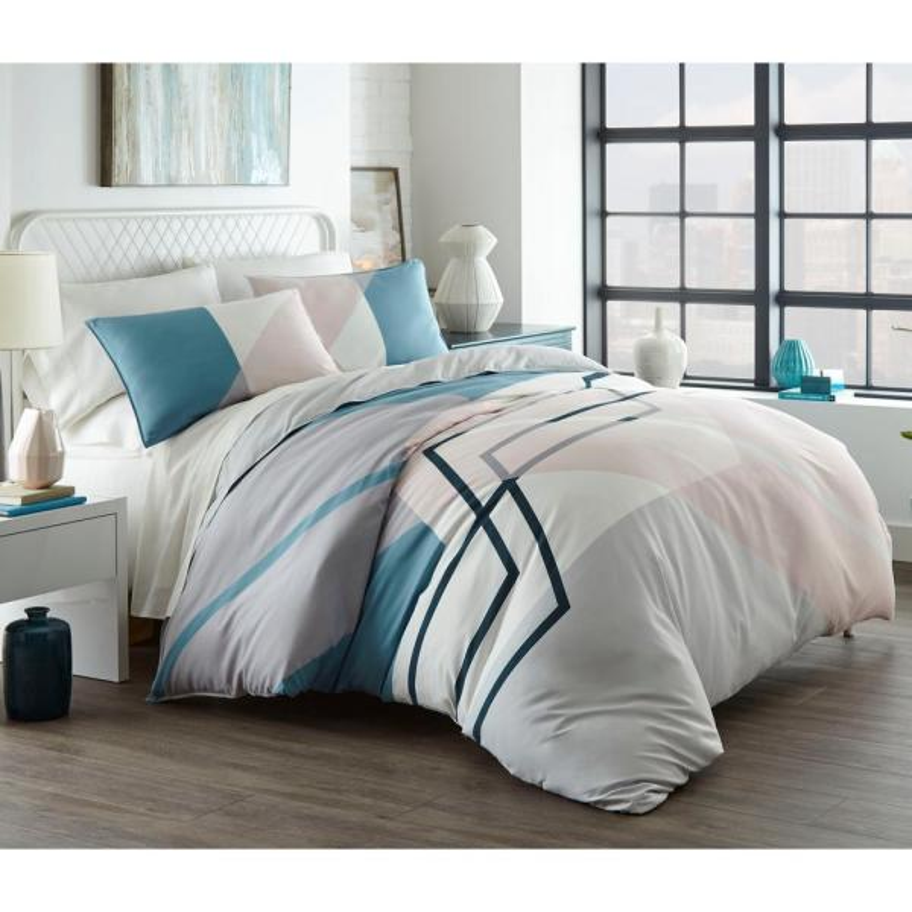 Thornton Blue 3-Piece Microfiber King Comforter/Sham Set