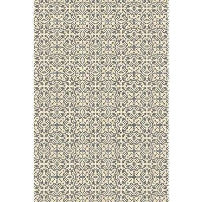 Quad European Design  2ft x 3ft grey & white Indoor/Outdoor vinyl rug.