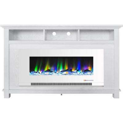 "San Jose 58 in. Freestanding Electric Fireplace Entertainment Stand in White with 50"" Insert and Driftwood Log Display"