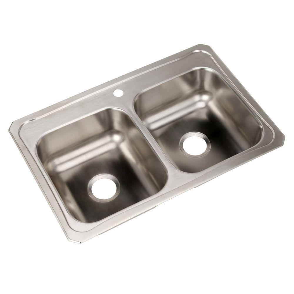Elkay Celebrity Drop-In Stainless Steel 33 in. 1-Hole Double Bowl ...
