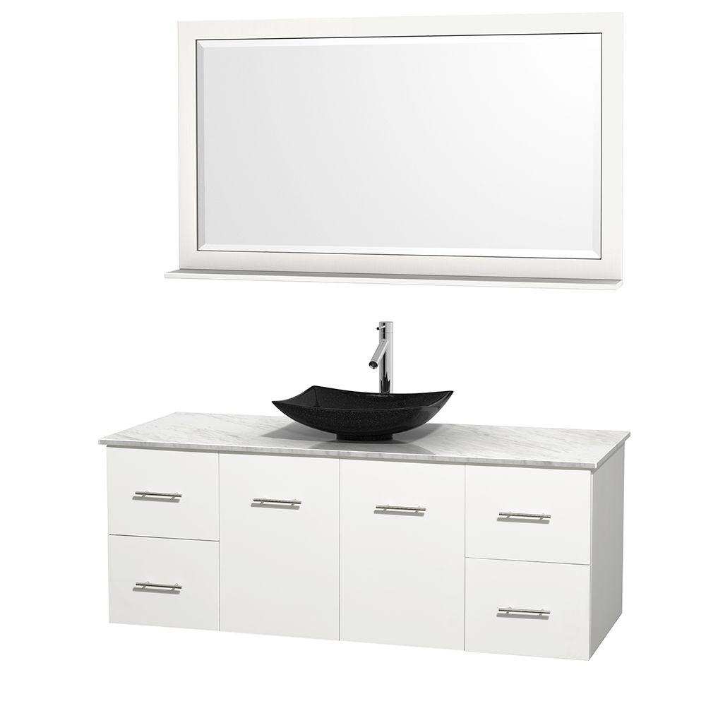 Wyndham Collection Centra 60 In. Vanity In White With Marble Vanity Top In  Carrara White
