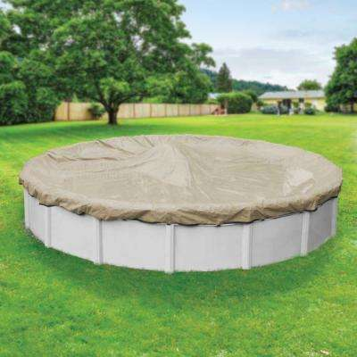 Premium 30 ft. Pool Size Round Tan Solid Above Ground Winter Pool Cover
