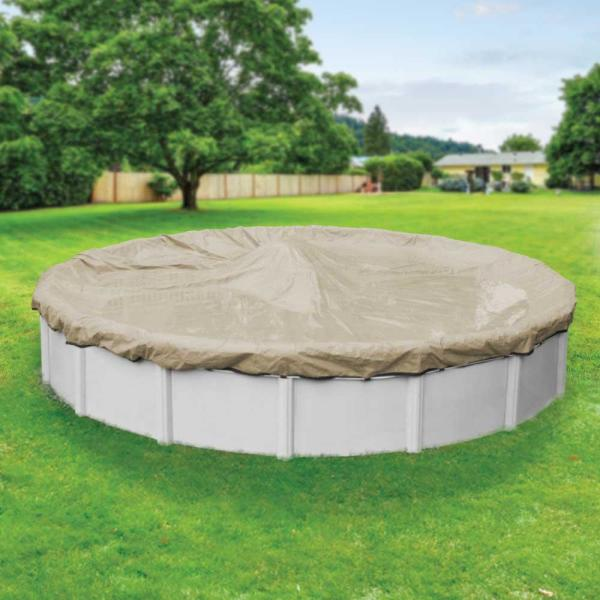Premium 33 ft. Round Tan Solid Above Ground Winter Pool Cover
